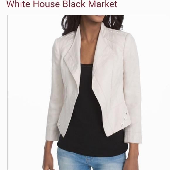 White House/Black Market Linen Blend Moto Jacket